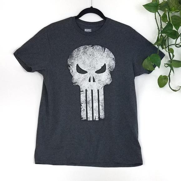 Punisher Short Sleeve Tee Shirt Charcoal White Skull Authentic Marvel Comics